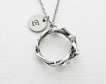 Crown of Thorns Necklace, Christian, Religious, BFF Best Friend Gift, Silver Jewelry, Personalized, Monogram, Hand Stamped, Letter Initial