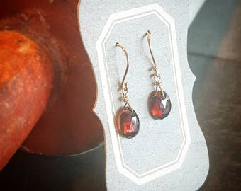 18KY gold and garnet earrings on French wires