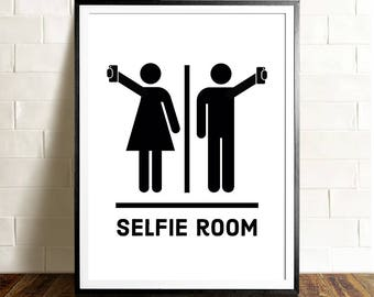 Funny Bathroom Art, PRINTABLE Art, Selfie Room, Bathroom Signs, Bathroom  Wall Decor