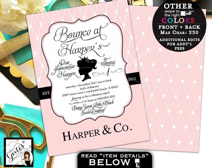Breakfast at Baby & Co. Blush Pink First Birthday Princess Invitations, Printable Invites, Girl Invitation, Blue theme, DIY, Digital, 5x7