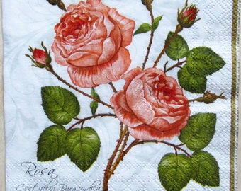 decoupage paper napkins Decoupage paper Napkin for decoupage Rose Flowers Pink rose