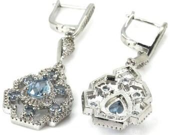 Sterling Silver London Blue Topaz Gemstone Drop Earrings & AAA CZ Accents