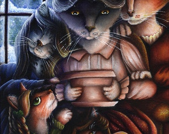 Little Women Cat Family 11x14 Fine Art Print