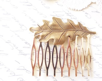 Ox Brass Leaf Hair Comb - Oak Leaf - Woodland Collection - Whimsical - Nature - Bridal