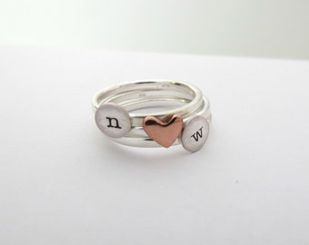 Custom Heart Ring - Personalized Ring - Custom Initial Ring - Stacked Rings - Personalized Jewelry - Monogram - Engraved - Hand Stamped