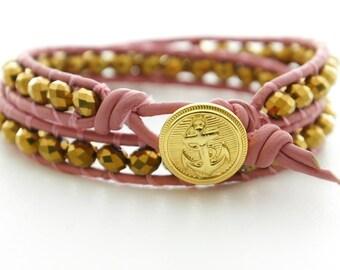 Nautical Leather Bracelet Pink Beach Bracelet Friendship Bracelet Beaded Bracelet Anchor Bracelet Anchor Jewelry Sailor Nautical Bracelet