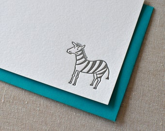 Zebra Letterpress Flag Cards & Envelopes, Set of 6