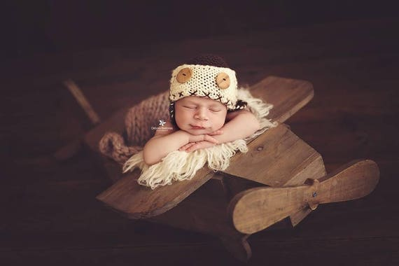 Wood rustic airplane newborn photography prop ready to ship