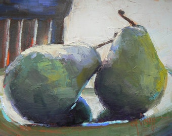 Still Life Pear Giclee Print on Canvas, Daily Painting Print, Small Oil Painting, Free Shipping, Choose your Size, Ready to Hang