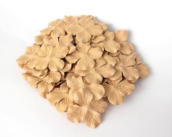 100 pcs - Beige Mulberry Paper Hydrangeas - Wholesale pack
