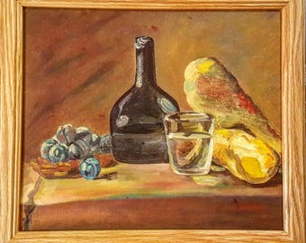 Oil Painting: Squash and Plums Still Life