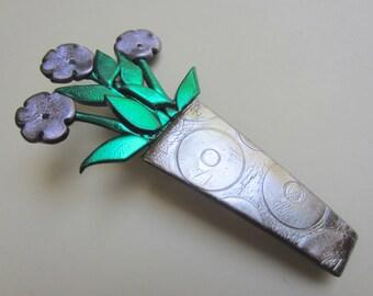 Vase of Lavender Flowers Pin Brooch