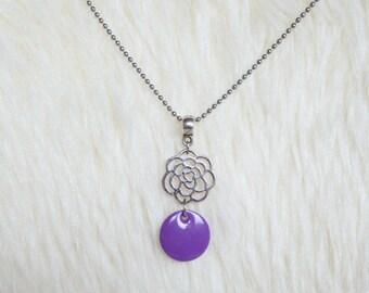 Lilac purple sequin flower filigree pendant necklace
