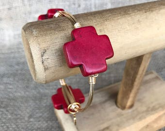 Red Howelite Cross Bangle Bracelet