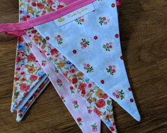 Pink and Blue Floral fabric bunting / garland / pennant - Flower Meadows - made by love