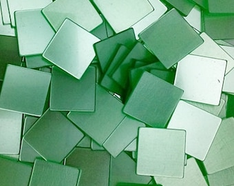 CLEARANCE / Resin mosaic tiles, 20x20 mm, Glossy effect, Green