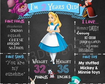 16x20 Alice in Wonderland Birthday Poster Sign (all ages)