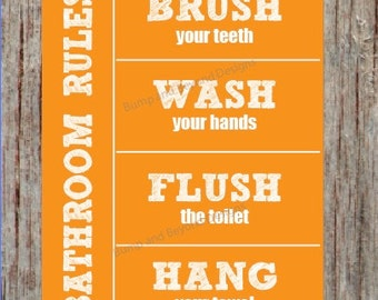 Bathroom Rules BATHROOM WALL ART Instant Download Wash your hands Brush your teeth Hang your towel Flush the toilet Orange Printable Kid 007