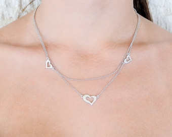 Layered Necklace, Heart Necklace, 925 Sterling Silver, Silver Necklace, Open Heart
