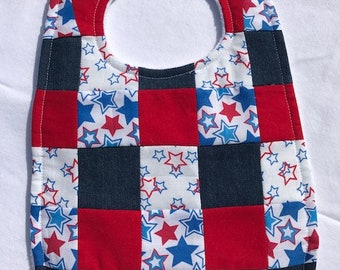 Stars Red, White and Blue Quilted Bib Baby - Toddler