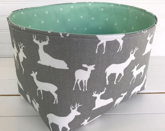 Woodland Nursery Storage Basket Baby Nursery Decor Home Decor Organizer Room Decor Baby Shower Gift Mint Gray Deer Grey Bucks Stag Woodland