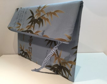 CASUAL CLUTCH / foldover clutch, Blue Bamboo fabric envelope clutch, zipper clutch, fabric clutch purse, one of a kind purse, handmade bag