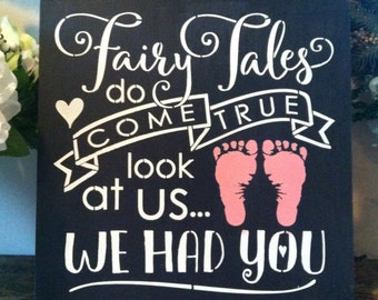 """Wood sign Fairy Tales Do Come True girl 12"""" x 12"""""""