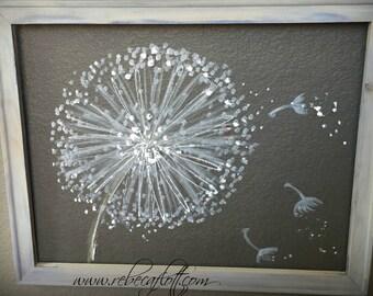 Recycled screen ,Dandelion Painting ,Dandelion Flower,Wall Art
