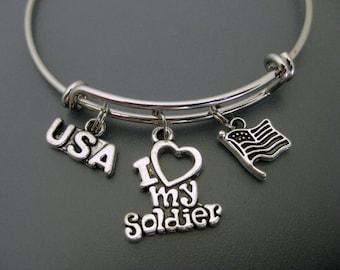 I Love My Soldier Bangle / I Love My Soldier Bracelet / Adjustable Charm Bracelet / Expandable Bangle / Soldier Bangle / Military Bangle