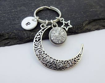 Moon Keychain, Star Keyring, Crescent Moon, Initial Keyring, Hand Stamped, Moon Keyring, Space Gift, Personalised Keyring, Moon Gifts