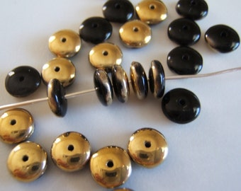25 - Jet Black and Gold Czech Glass Rondelles