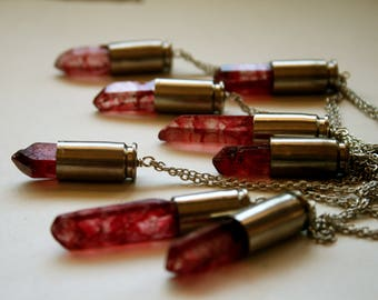 Ruby Red Bullet Crystal Necklace // Strawberry Red Quartz Bullet Shell Necklace