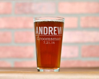 Groomsmen Gift. Custom Beer Glass Etched By Hand.