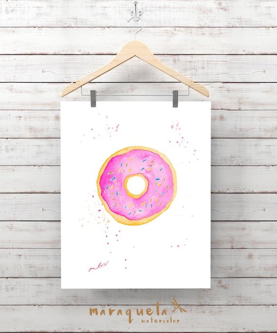 DONUT in watercolor. Original illustration, doughnut. Bright and vibrant colors. Modern decor art wall.Fashion Room Decor, cake, food prints