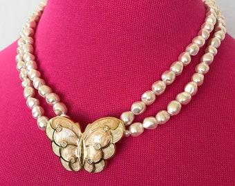 KJL for Avon Butterfly faux pearl  necklace