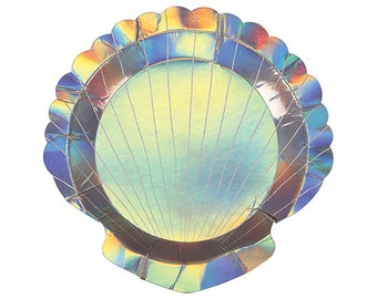 Seashell Party Plates, Metallic, Party Supplies, Shell Plates, Seashell Plates, Under the Sea Party, Mermaid Party, Shell Shaped Plates