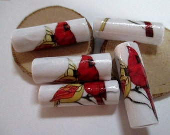 Paper Bead Red Cardinal Pair - 12 Paper Beads