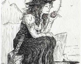 Pirate Girl with Dirk -  Original Art