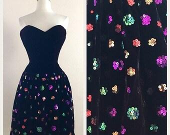 SHOP SALE Jewel Tone Vintage Jessica McClintock 1980s Party Dress - Velvet Mini Cocktail Dress with Sequins - Size XS Small