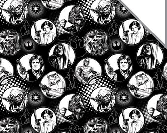 Star Wars Fabric Circles in Black FLANNEL Fabric From Camelot Premium Quality