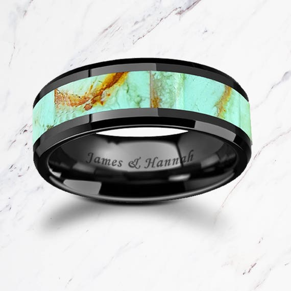 Personalized Engraved Bevel Edged Real Blue Turquoise Inlay Black Ceramic Ring - 8mm Available - Lifetime Size Exchanges