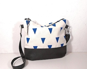 Crossbody  bag white blue, Small canvas geometric bag, canvas shoulder bag, gray leather purse, hobo bag,white cotton handbag,canvas day bag
