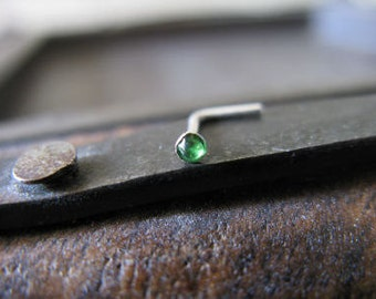 Sterling silver nose stud Green
