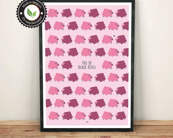 Poster A3, A4 Sweet dreams little pink sheep, child illustration, baby room poster