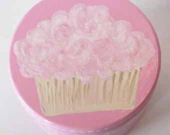 Hand Painted Love Boxes Pink Cupcake Box Wood