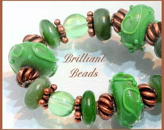 Jade Green Boro Lampwork Glass Beads, Green Aventurine, and Copper Beaded Bracelet SRA