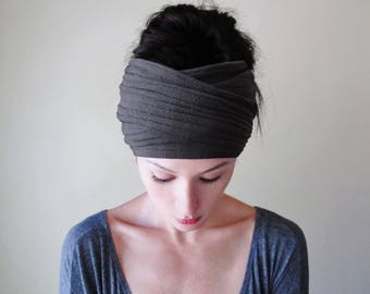 GRAY Knit Headband, Sweater Knit Head Wrap, Extra Wide Head Scarf, Charcoal Grey Ear Warmer, Headband for Women, Gifts for Her