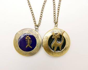 Cat fish bone Medallion locket Necklace 2020M
