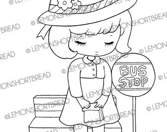 Digital Stamp Bus Stop Girl, Digi Download, School Child in Hat, Fall Autumn, Coloring Page, Children, Scrapbooking Supplies, Clip Art