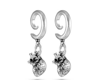 Anatomical Heart Gauged Earrings - Antique Silver Heart Ear Weights - Anatomical Heart Gauges